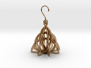 Celtic Knot Pyramid Earring in Polished Brass (Interlocking Parts)