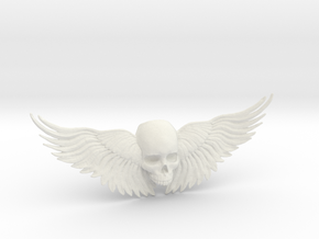 Winged Skull ring  in White Natural Versatile Plastic: 10.5 / 62.75