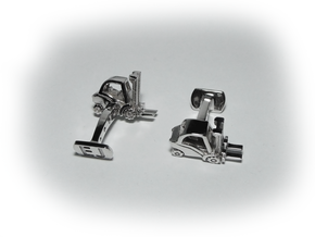 Forklift Cufflinks in Rhodium Plated