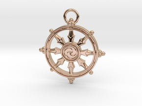 Dharmacakra Keychain in 14k Rose Gold Plated
