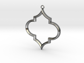 Pointed Foil Pendant Large in Polished Silver