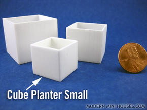 Cube Planter Small 1:12 scale in White Processed Versatile Plastic