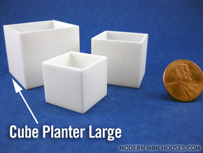 Cube Planter Large 1:12 scale in White Processed Versatile Plastic