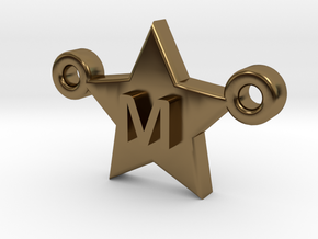 Customizable Star Letter Pendant -1,45cm in Polished Bronze