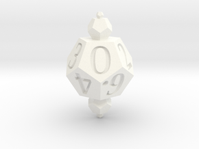 Merged Dice Set in White Strong & Flexible Polished: d10
