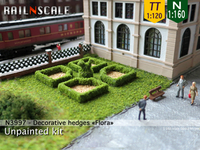 Decorative hedges Flora (N 1:160 - TT 1:120) in White Strong & Flexible
