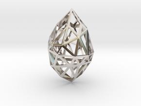 Geometric pendant 'Rough Diamond' (small) in Rhodium Plated Brass