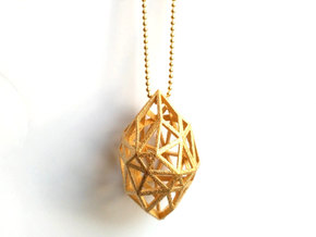 Geometric pendant 'Rough Diamond' (small) in Matte Gold Steel
