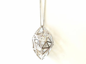 Geometric pendant 'Rough Diamond' (small) in Polished Silver