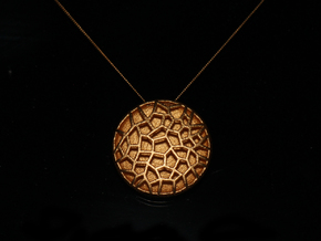 Bio Cell Pendant - closed back in Matte Gold Steel