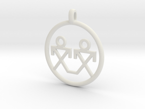 Brothers Symbols Native American Jewelry Pendant in White Natural Versatile Plastic