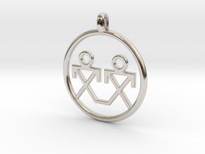 Brothers Symbols Native American Jewelry Pendant in Platinum