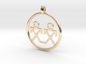 Brothers Symbols Native American Jewelry Pendant in 14k Gold Plated Brass