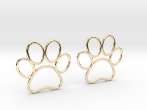 Paw Print Earrings - Large in 14K Yellow Gold