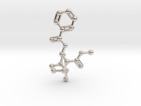 Cocaine Molecule Necklace Keychain in Rhodium Plated Brass