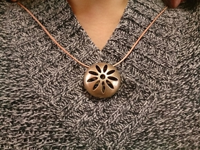 Flower Pendant Top 001 in Polished Bronzed Silver Steel