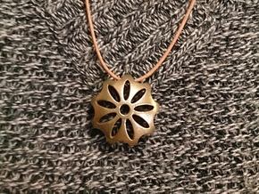 Flower Pendant Top 002 in Polished Bronzed Silver Steel