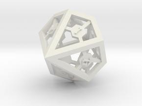 D10 Epoxy Dice in White Natural Versatile Plastic