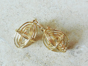 Concentric Borromean -- Precious Metal Earrings in Polished Brass