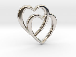 Double Heart Necklace in Platinum