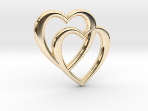 Double Heart Necklace in 14k Gold Plated Brass