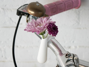Bud Vase for your Bike in White Strong & Flexible Polished