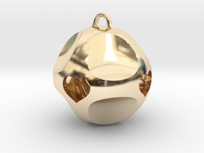 Ornament for Lovers with Hearts inside in 14k Gold Plated Brass: Medium