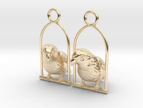 Lovebird Earrings in 14k Gold Plated Brass