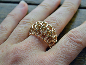Voronoi Cell Ring  in 14k Rose Gold Plated