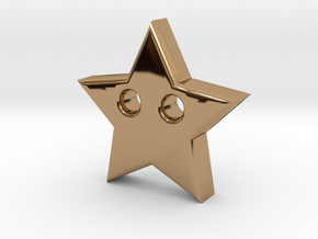 Star Pendant (2 Holes) in Polished Brass