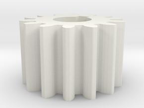 Cylindrical gear Mn=1 Z=14 AP20° Beta0° b=10 HoleØ in White Natural Versatile Plastic