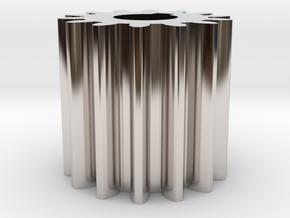 Cylindrical gear Mn=1 Z=14 AP20° Beta0° b=15 HoleØ in Rhodium Plated Brass