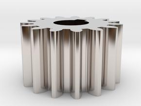 Cylindrical gear Mn=1 Z=15 AP20° Beta0° b=10 HoleØ in Rhodium Plated Brass