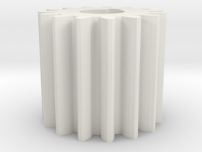 Cylindrical gear Mn=1 Z=15 AP20° Beta0° b=15 HoleØ in White Natural Versatile Plastic