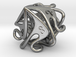 Curlicue 10-Sided Dice (alternate) in Natural Silver