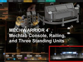 Mechwarrior 4 Mechlab Console and Railing in White Strong & Flexible: 1:64