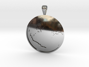 Terra (The Earth) in Fine Detail Polished Silver