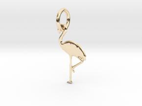 Flamingo Bird Pendant in 14K Yellow Gold