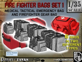 1-35 Med Tac Emerg And Firefight Gear Bag Set in Frosted Ultra Detail
