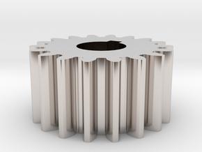 Cylindrical gear Mn=1 Z=18 AP20° Beta0° b=10 HoleØ in Rhodium Plated Brass