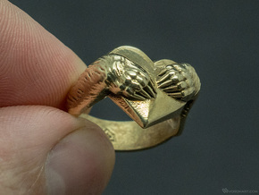 """Bear hug"" Ring in Polished Brass"