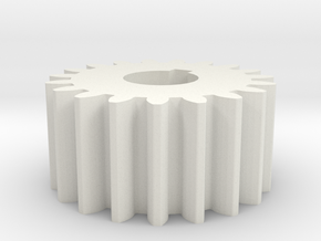 Cylindrical gear Mn=1 Z=19 AP20° Beta0° b=10 HoleØ in White Natural Versatile Plastic