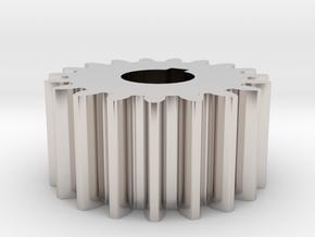 Cylindrical gear Mn=1 Z=19 AP20° Beta0° b=10 HoleØ in Rhodium Plated Brass
