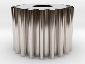 Cylindrical gear Mn=1 Z=19 AP20° Beta0° b=15 HoleØ in Rhodium Plated Brass