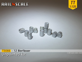 12 Bierfässer (TT 1:120) in Smooth Fine Detail Plastic