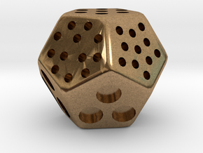 Classic Minimal D12 Dice in Natural Brass