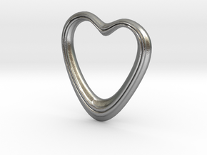 Oblong Heart Pendant in Natural Silver