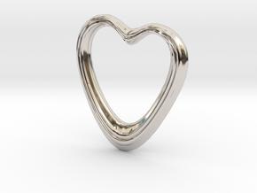 Oblong Heart Pendant in Rhodium Plated Brass