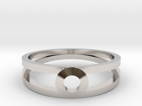 """K Line""  K3 Ring, US size 8, d=18,2mm(all sizes o in Rhodium Plated Brass: 8 / 56.75"
