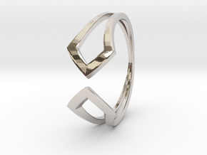 HIDDEN HEART Smooth, ring US size 10.5 , d=20,2mm in Rhodium Plated Brass: 10.5 / 62.75
